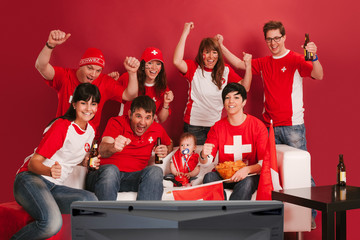 Happy Swiss sports fans
