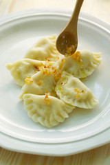 Dumplings with curd cheese and potato filling