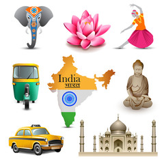 India travel set icons, vector