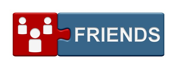 Puzzle-Button rot blau: Friends