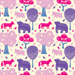 Forest animals seamless pattern © tets