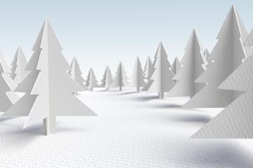 3d white cardboard evergreen forest