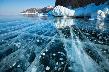 Lake Baikal. Beautiful natural figure on the ice