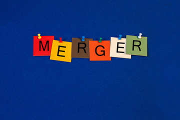 Merger - sign series for business - corporate takeover, competit