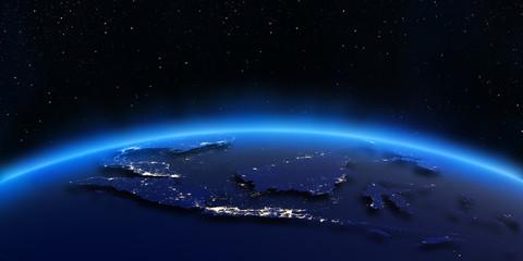 Indonesia city lights map
