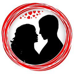 Valentine's day frame with silhouette happy couple