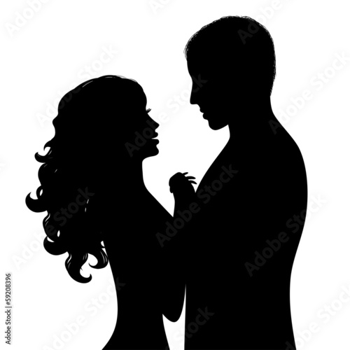Silhouette a happy couple