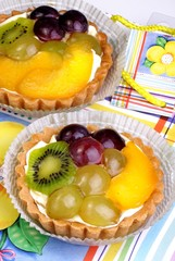 fruits in flaky pastry with cream