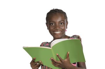 Afrikanisches Mdchen mit Schulbuch