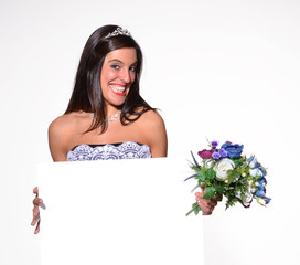 Novia feliz por que se casa.mensaje.