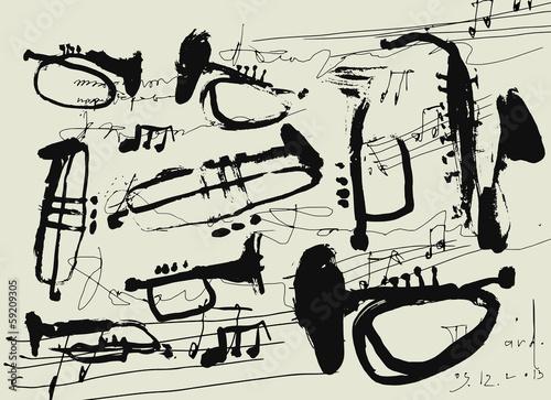 Постер, плакат: Музыкальные инструменты, холст на подрамнике
