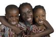 canvas print picture - Drei afrikanische Kinder haben Spass