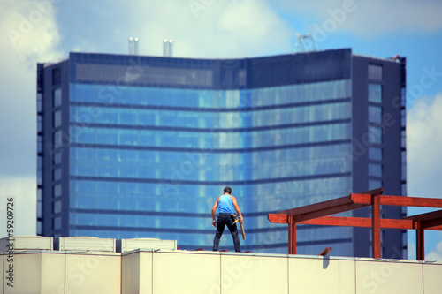 repairment worker at rooftop
