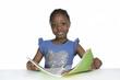 canvas print picture - Afrikanisches Mdchen mit Schulbuch