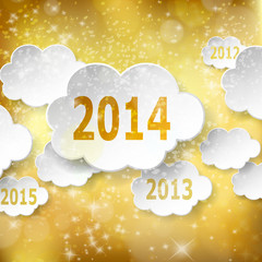 Modern New Year greeting card with paper clouds on golden backgr