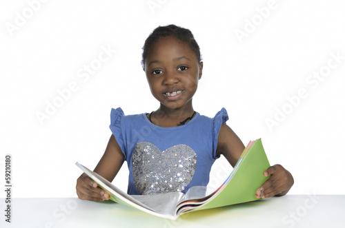 canvas print picture Afrikanisches Mdchen mit Schulbuch