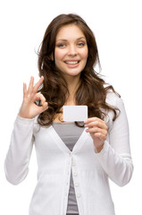 Half-length portrait of woman keeping business card