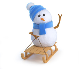 Cute snowman plays on his sled