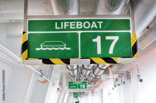 Lifeboat 17 sign hanged on a wall