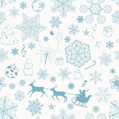 Christmas seamless turquoise pattern