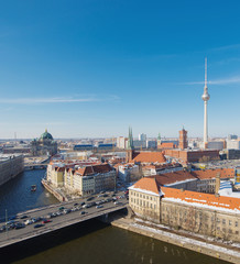 Berlin Skyline Winter City Panorama with snow and blue sky