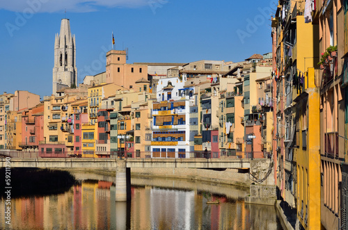 Colorful houses with Cathedral in Girona, Spain