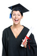 Graduating student in academic black gown