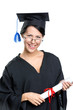 Graduating student in glasses and academic gown