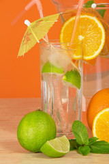 Glass with a refreshing drink from citrus