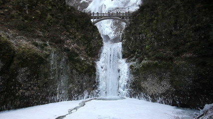 Multnomah Falls in Deep Freeze Winter Portland Oregon