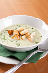 Cabbage soup with cream with toasted sandwich