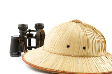 reed safari hat and binoculars