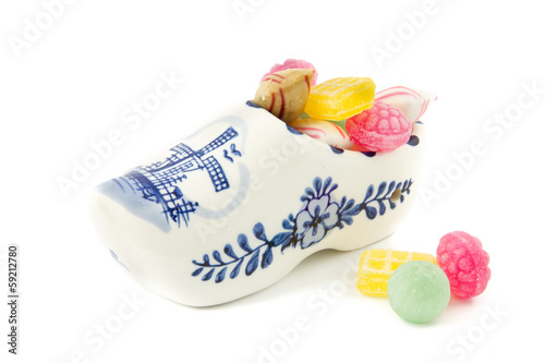 porcelain wooden shoe souvenir filled with old Dutch sweets