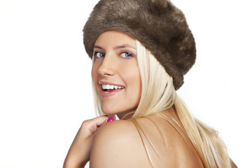 winter woman smiling