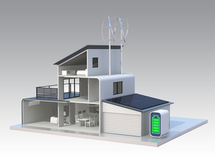 Energy saving house with solar panels, wind power system
