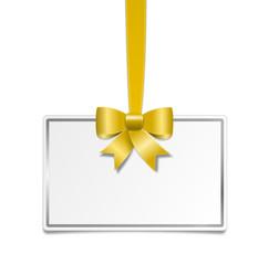 Goldene Schleife mit weißem Schild