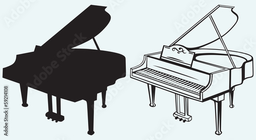 Grand piano isolated on blue background - 59214108