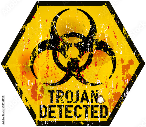 trojan / computer virus alert sign, vector illustration