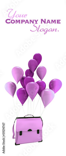 Pink balloons carrying a schoolbag