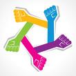 Creative unity hand icon - vector illustration