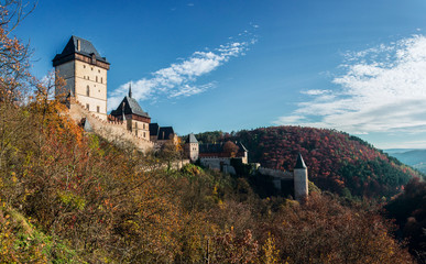 Karlstejn castle in autumn colors..
