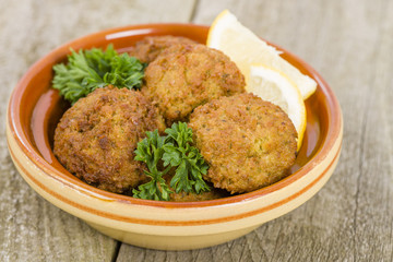 Falafel -  Middle Eastern chickpea and fava beans fried balls.