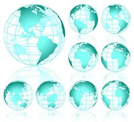 Cyan Vector Globes