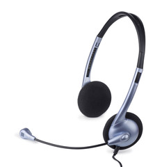 Blue headset with microphone