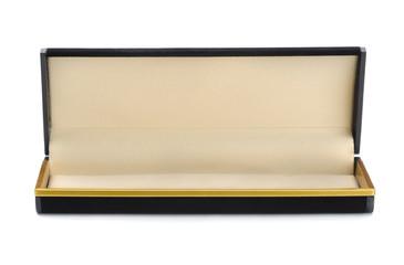 Open empty black jewelry box