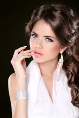 Glamour Fashion Woman Portrait Of Beautiful brunette with long h