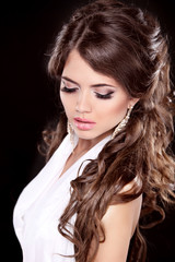 Glamour Fashion Woman Portrait. Makeup. Beautiful brunette with