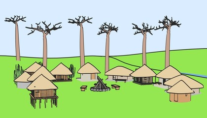 cartoon image of african village