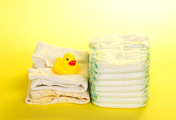 Disposable diapers, clothes and rubber duckling