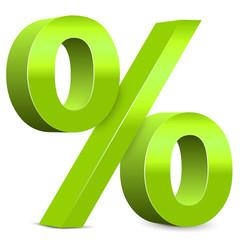 Rabatt – Hellgrünes Prozentzeichen, 3d, Prozent, Icon, Zeichen